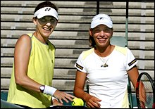 Monica Seles and Marina Erakovic